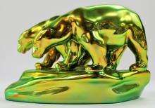 ZSOLNAY IRIDESCENT GLAZED POTTERY POLAR BEARS