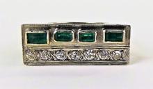 14KT WHITE GOLD DIAMOND & EMERALD COCKTAIL RING