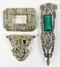 COLLECTION OF RHINESTONE PINS & MONEY CLIP