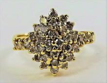 LADIES 1 1/2CT DIAMOND COCKTAIL RING 14KT YG