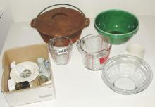 Cast Iron Pot, Glass Measuring Cups, Pyrex Style Bowl and Other Collectible Items