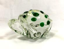ADORABLE SPECKLED ART GLASS TURTLE