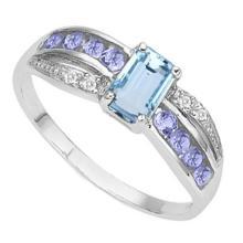 BEAUTIFUL BAGUETTE BLUE TOPAZ/TANZANITE RING
