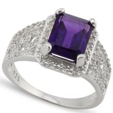 GORGEOUS 2CT FILIGREE AMETHYST STERLING RING