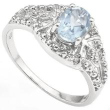 FILIGREE STERLING OVAL AQUAMARINE STERLING RING