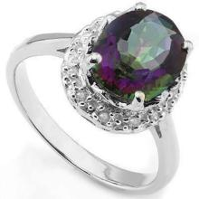 BRILLIANT OVAL 2.5CT MYSTIC TOPAZ STERLING RING