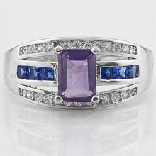 UNIQUE AMETHYST/WT TOPAZ LADIES STERLING RING