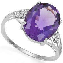 3CT HUGE OVAL AMETHYST/DIAMOND STERLING RING