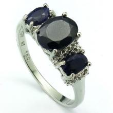 LOVELY TRIPLE STONE DYED SAPPHIRE STERLING RING