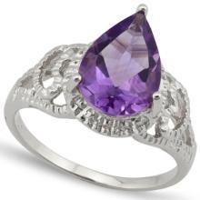 ELITE PEAR CUT 3CT AMETHYST/DIAMOND RING