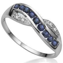 SUPERB GENUINE SAPPHIRE/DIAMOND STERLING RING