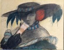 FRAMED ART DECO CRAYON ON PAPER FIGURATIVE DRAWING