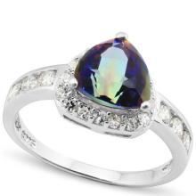 SUPERB OCEAN MYSTIC TOPAZ STERLING SILVER RING
