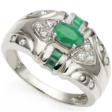 PHENOMINAL GENUINE EMERALD STERLING SILVER RING