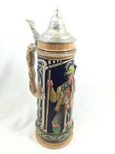 WEST GERMAN STEIN WITH PEWTER LID