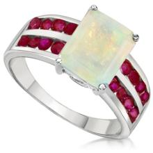 DAZZLING RUBY/FIRE OPAL STERLING COCKTAIL RING