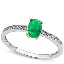SUPERB .662CT DYED EMERALD SOLITAIRE STERLING RING