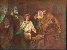 ANTIQUE OIL ON CAVNAS JEWISH PAINTING
