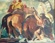 JON CORBINO FIGURTIVE OIL ON BOARD V$12,900