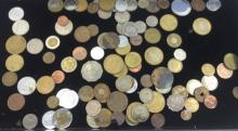TRAY LOT OF ASSORTED FOREIGN COINS