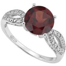 2CT SOLIATIRE GARNET W/DIAMOND STERLING RING