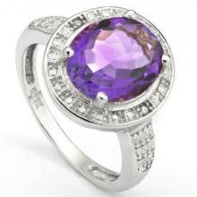 OVAL SET BEAUTIFUL 3CT AMETHYST/DIAMOND RING