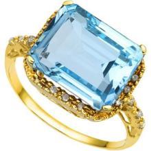 GORGEOUS 10K GOLD 7CT BLUE TOPAZ/DIAMOND RING