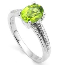 ELITE OVAL CUT 1CT PERIDOT SOLITAIRE STERLING RING