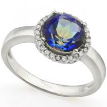 2CT MAGIC BLUE RAINBOW TOPAZ/DIAMOND ACCENT RING