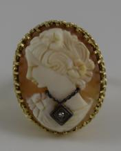 VICTORIAN CARVED CAMEO RING 14K GOLD w/ DIAMOND