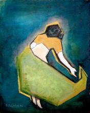 Kamal Nayan Jaimini (Indian, born 1969) ? Oil Painting ? ?Woman?, canvas 16ins x 19ins, signed and d