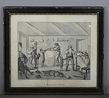 """C. Knight after Henry William Bunbury (1750-1811) – Engraving – """"A Barber's Shop"""", 17ins x 21ins, pu"""