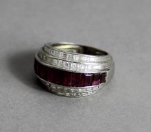 A mid 20th Century Continental white metal (thought to be platinum) ruby an