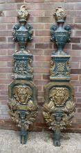 A pair of late 19th Century French carved and painted wood pilasters of 18t