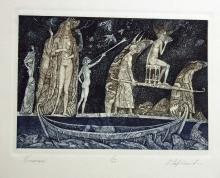 Leonid Stroganov ? Coloured etching ? ?Run?, 19.5cm x 28cm, signed, No. 25/