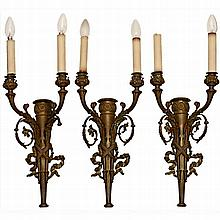 Set of 3 Two-Branch Ormolu Wall Sconces, c. 1920