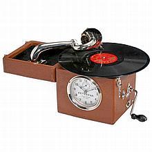 Peter Pan Alarm Clock Gramophone, c. 1930