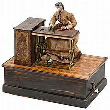 Early Musical Manivelle Automaton Lady at Sewing Machine, 1870s
