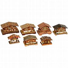 7 Carved Musical Chalets, 20th Century