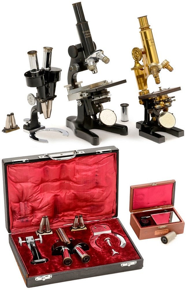 3 Microscopes by Leitz and Zeiss