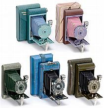 5 Colored Kodak Rollfilm Cameras