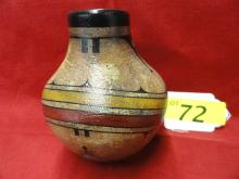 Zia /San Felipe Hand thrown polychrome pot by Leslie Aragon- Native American