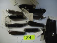 (9) WWII SURVIVAL & UTILITY FOLDING KNIVES, CAMILLUS, KUTMASTER