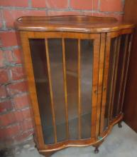 WALNUT  CURVED FRONT CHINA/DISPLAY CABINET