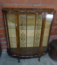 CURVED FRONT MAHOGANY CHINA/DISPLAY CABINET WITH DESIGN PAINTED ON FRONT PANELS