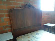MAHOGANY FULL SIZE BED, CARVED TALL HEADBOARD AND FOOTBOARD CIRCA 1890
