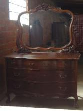 MAHOGNAY DOUBLE DRESSER, CARVED MIRROR, FOUR DRAWERS OVER CARVED SKIRT, BALL AND CLAW FEET, CIRCA 1890