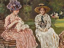 Raffaele Ragione (1851-1919), Au Parc Monceau, Oil, around 1900