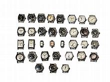 Mixed lot Huber, 34 Watches, Switzerland, 1940s