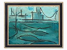 Heiner Malkowsky (1920-1988), Painting, Hudson Bay with Bridge